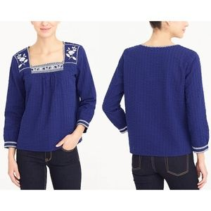 J Crew Embroidered Royal Blue Peasant Top - M